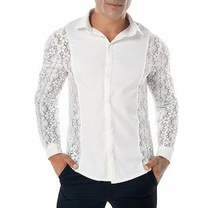 C1618ワイシャツ メンズYシャツ 白レースワイシャツ Yシャツ長袖 ホストシャツ 演出 舞台衣装 ステージ衣装 無地 シースルー セクシー 黒 ブラック ホワイト トップス メンズ