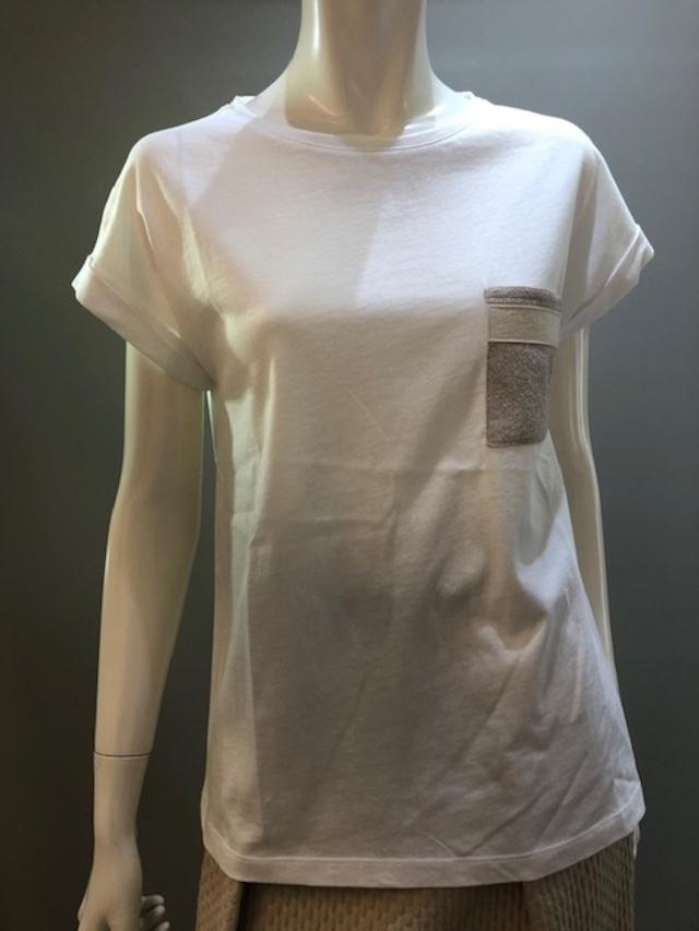 H.A.N.D 1920073 Col.074 ポケットのラメニット付 Tシャツ イタリア製