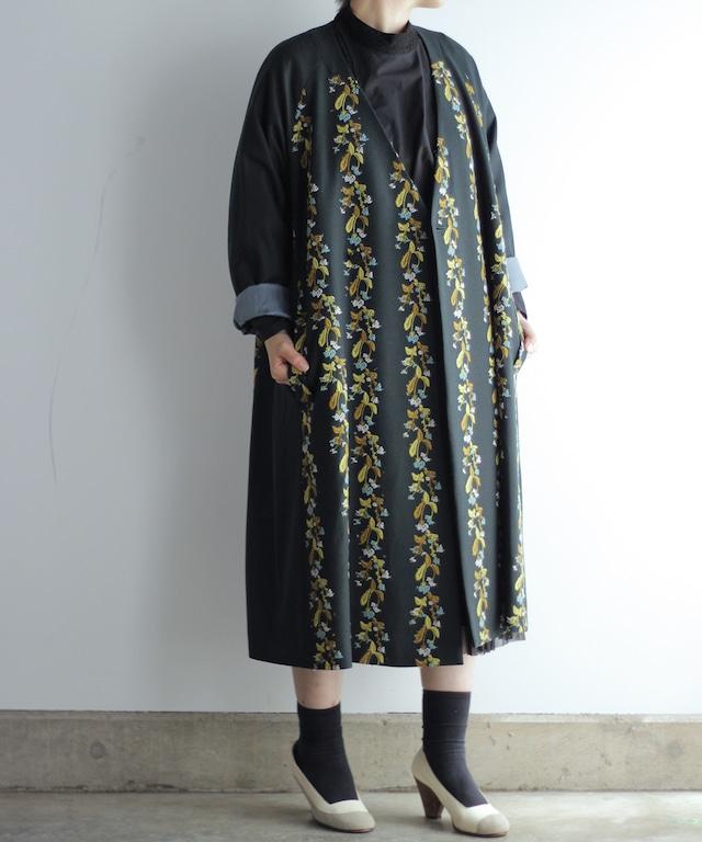 撫菜刺繍のコート ダークグリーン(evh501-GRN)
