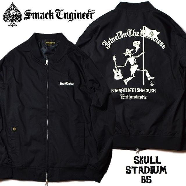 SMACK ENGINEER / スマックエンジニア「SKULL STADIUM BS」スタジアムブルゾン スタジャン ジャケット ジップアップ MA-1 黒 ブラック スカル ドクロ スペード メンズ レディース ROCK PUNK ロック パンク バンド ギフトラッピング無料 ステージ衣装 Rogia