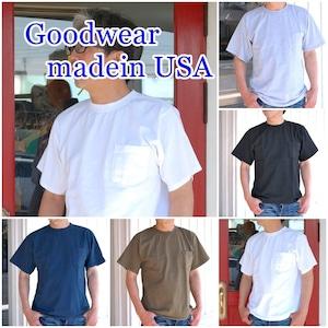 グッドウェア Goodwear 半袖Tシャツ クルーネック  ポケットTシャツ  レギュラーフィット  アメリカ製 USA メンズ GDW-001-171001 無地T ポケットT