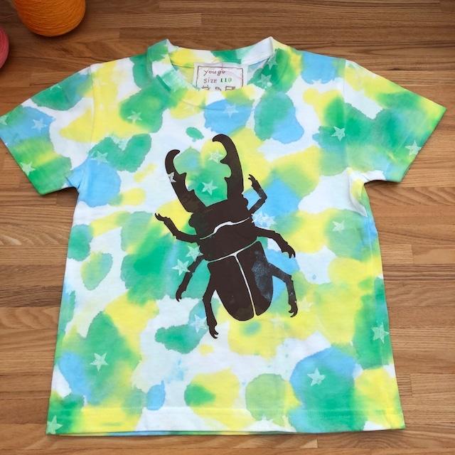 受注制作 kidsTシャツ「むら染め クワガタ」80cm~140対応