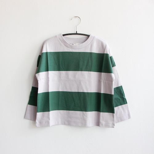 《main story 2021AW》Long Sleeve Tee / Lilac Marble × Green Stripe