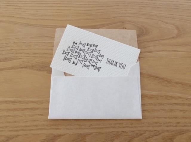 【活版印刷】小さなカードと封筒(THANK YOU.bow)