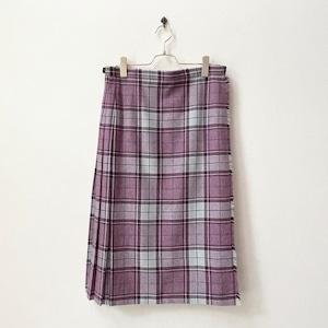 80年代 GREAT BRITAIN製 タータンチェック柄 巻きスカート ヨーロッパ 古着 日本LL