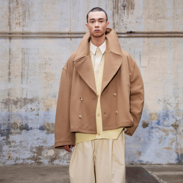 HED MAYNER - CROPPED PEACOAT - AW21_O34_CML/ WO WO - CAMEL WOOL