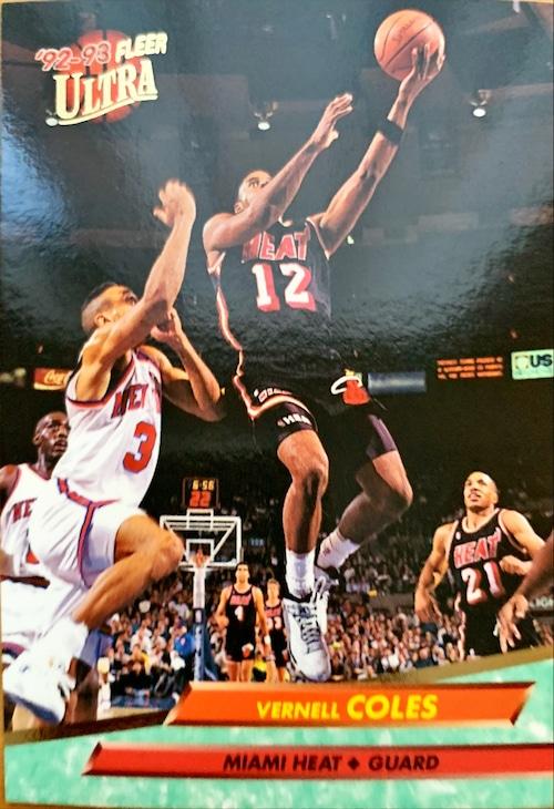NBAカード 92-93FLEER Vernell Coles #98 HEAT