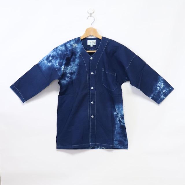 藍染鯉口シャツ|Lサイズ