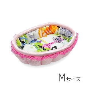 ふーじこちゃんママ手作り ぽんぽんベッド(サテンライトピンク・ビビット多色ねこ柄)Mサイズ【PB2-161M】