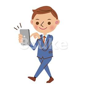 イラスト素材:歩きスマホをするビジネスマン(ベクター・JPG)