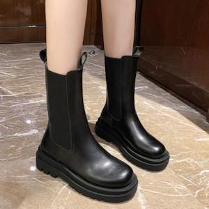 【シューズ】韓国風ファッション カジュアル 丸トゥ 防水 PU ミドル丈 ブーツ53362936