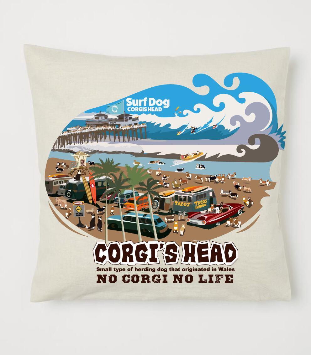クッション コーギーのサーフィン大会デザイン No.cushion007 40×40 オーガニックコットンを使用のクッションカバー コットン 100%