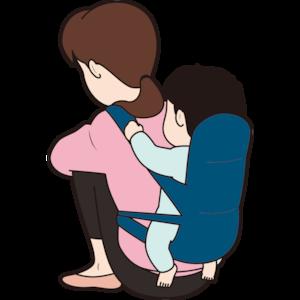 膝を抱える主婦