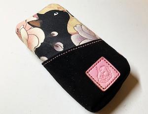 黒猫と革のL字ファスナーポーチ(ピンクx黒スエード) [257-pt]
