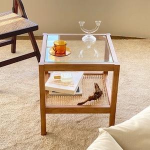 glass rattan wood table / ガラス ラタン ウッド 2段 サイドテーブル 韓国 北欧
