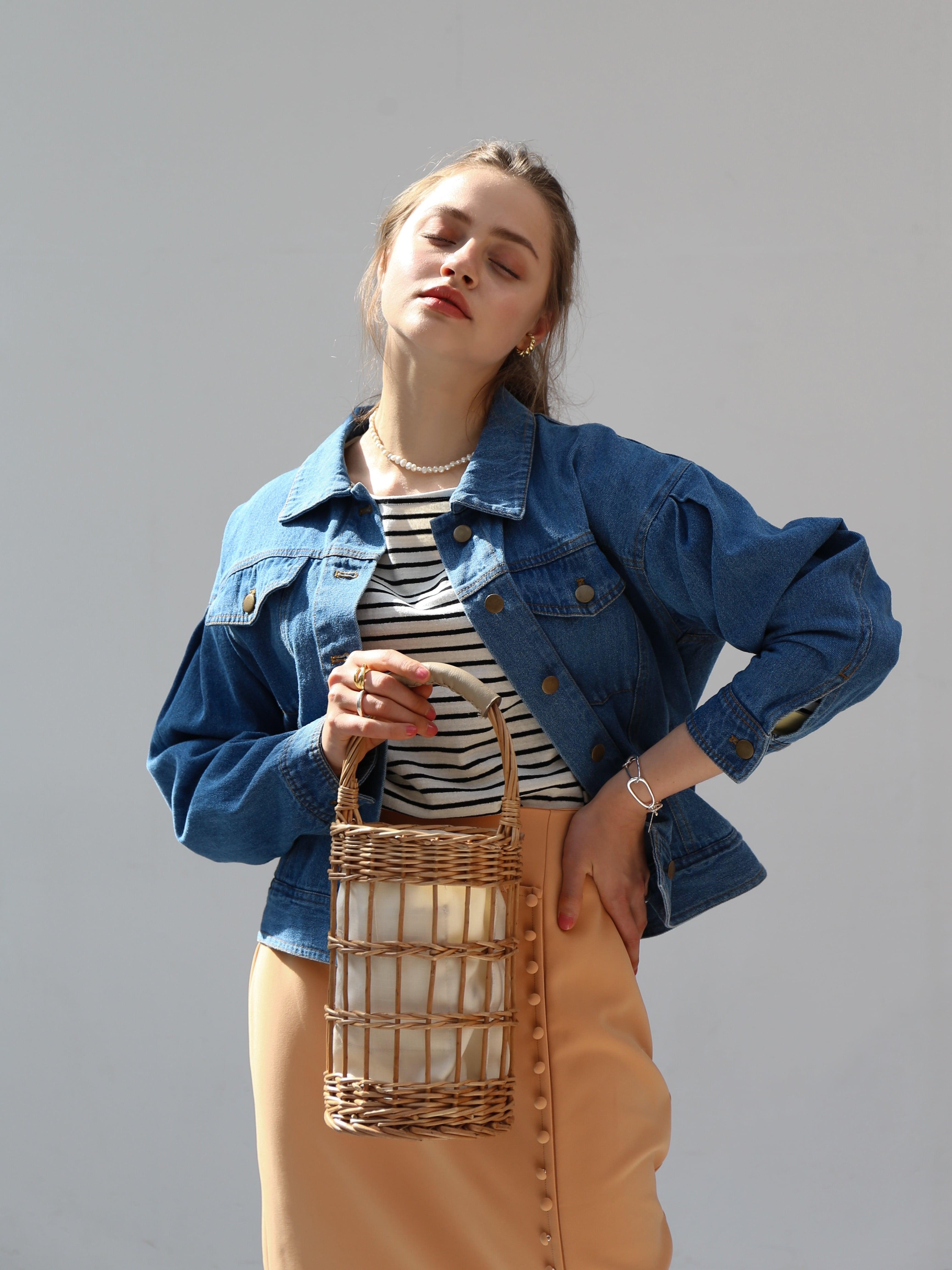puff sleeve denim jacket(blue)