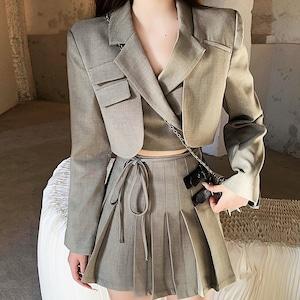 ショートジャケット&プリーツスカート V00889