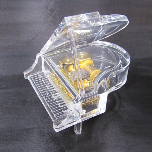 LEDライト付き アクリルピアノオルゴール【クリア】