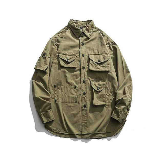 【UNISEX】マルチポケット ロングスリーブ カジュアルシャツ【2colors】