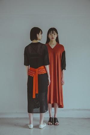【受注】YUKI SHIMANE Cotton mesh Knit dress+belt