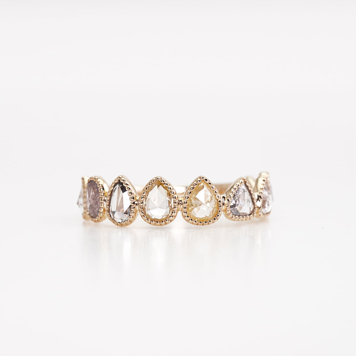 Rosecut diamond eternity ring / Milgrain multi