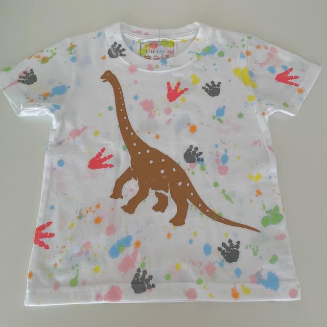 受注制作kidsTシャツ「ブラキオサウルスと足跡」100cm~140対応