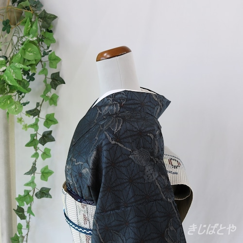 大島紬 深い藍に麻の葉と花 袷