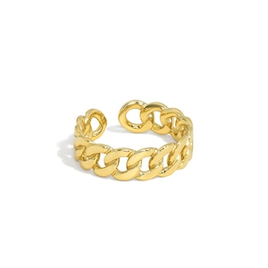 s925 Miami Chain Link Ring 【GOLD】
