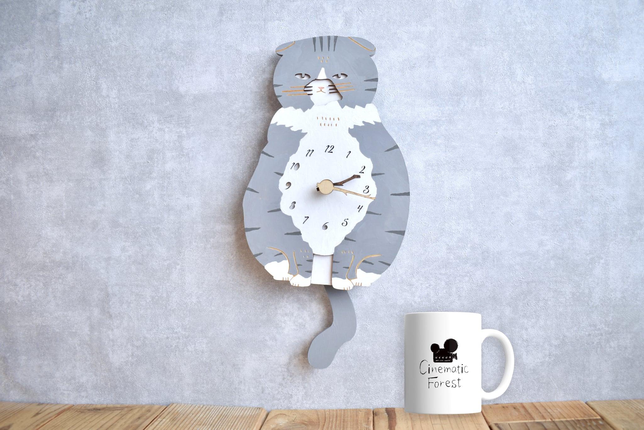 スコティッシュ・フォールドの時計 木製 振り子時計 掛け時計