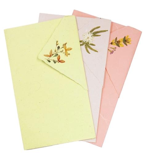 手漉き紙 袋折りレターセット(3枚入り)【フェアトレード】