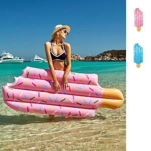 予約 浮き輪 アイスクリーム ビーチフロート 可愛い インスタ映え プール プールパーティー ナイトプール うきわ ベッド マット ピンク ブルー 大人 大きいサイズ かわいい m923