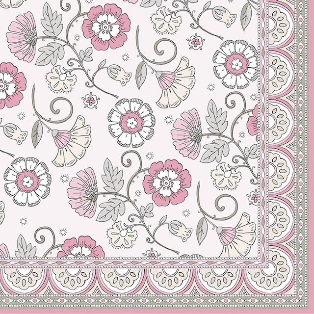 【Easy Life】バラ売り2枚 ランチサイズ ペーパーナプキン Kalamkari ピンク