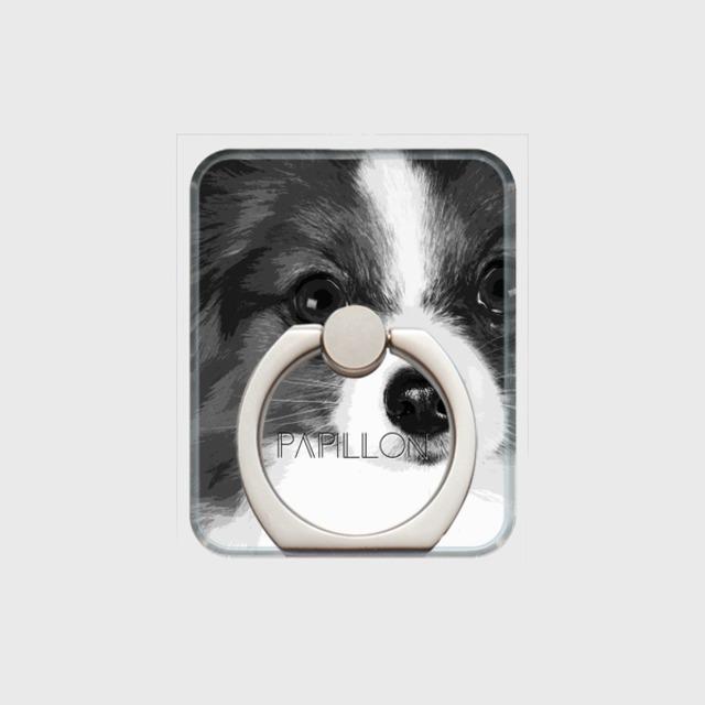 パピヨン おしゃれな犬スマホリング【IMPACT -shirokuro- 】