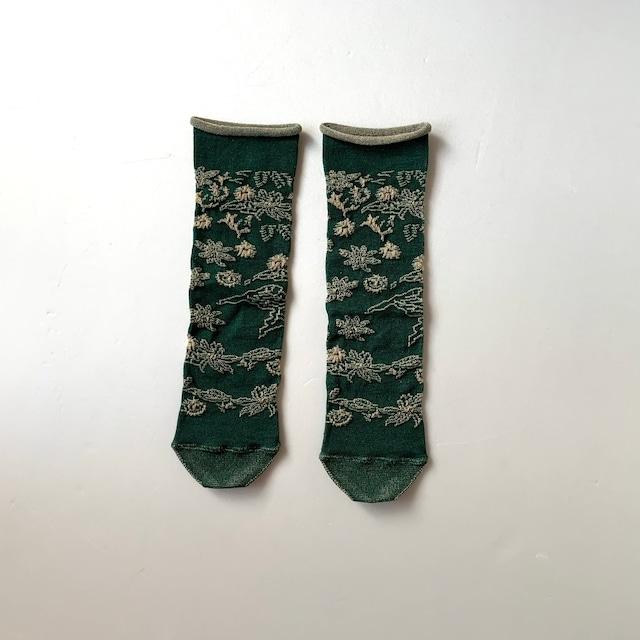 かかとのない靴下 【つつした x pink india】| dark green |