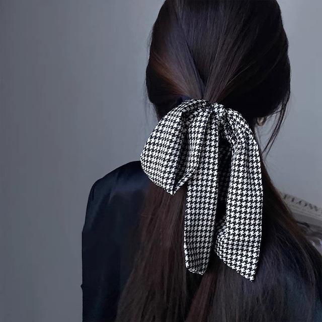 houndstooth pattern ribbon chouchou 2c's