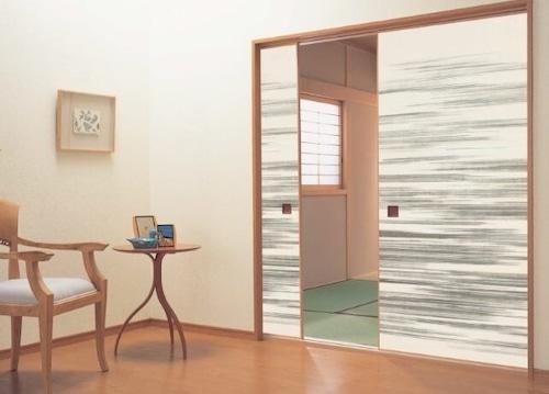 モダンふすま紙 墨麗(sumire)707 織物(糸入り)ふすま紙 洋室・洋間 203cm×98cm 1枚  黒・ブラック系おしゃれふすま紙