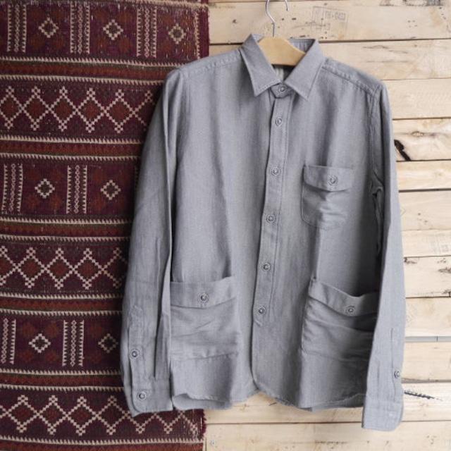 DNL Italy コットンヘリンボーンシャツジャケット グレー