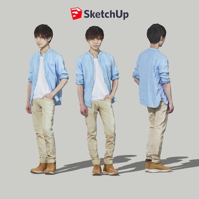 SketchUp素材 3D人物モデル ( Posed ) 033_Toru - メイン画像