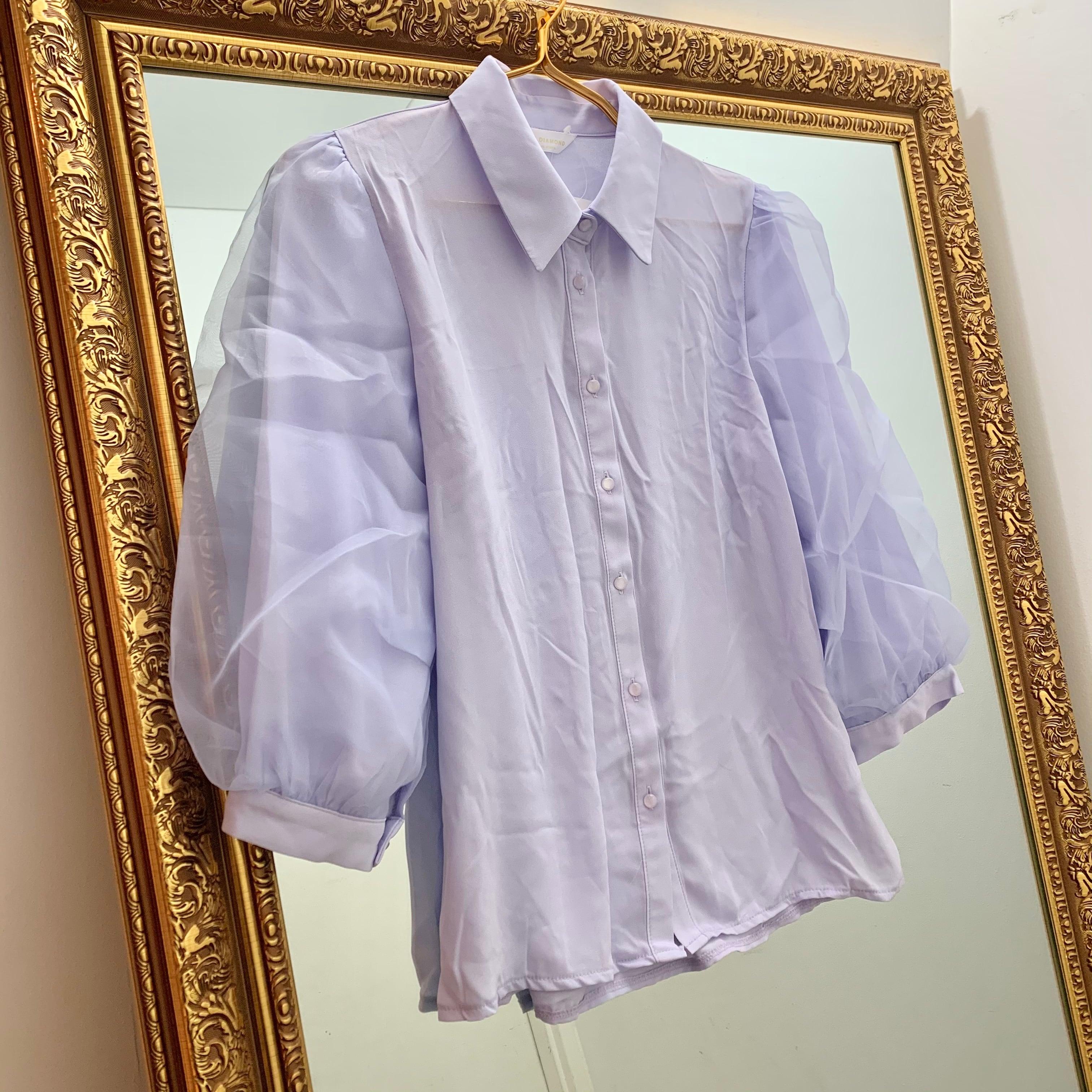 see-through puff blouse