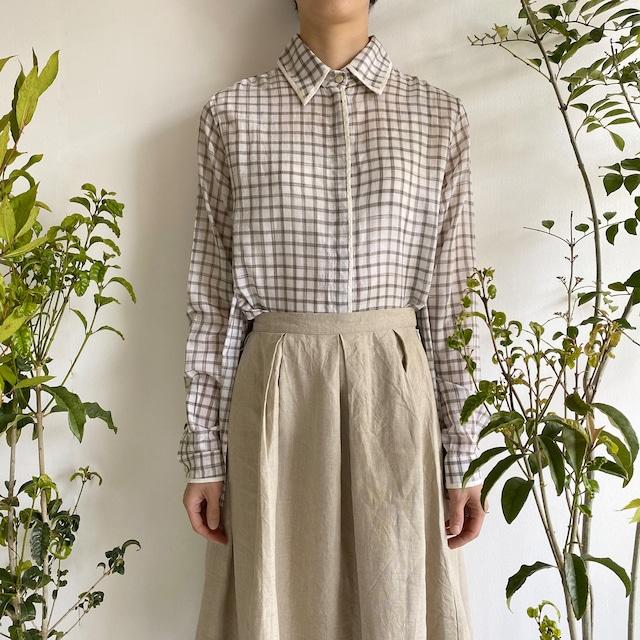 """Side slit blouse """"white check"""""""