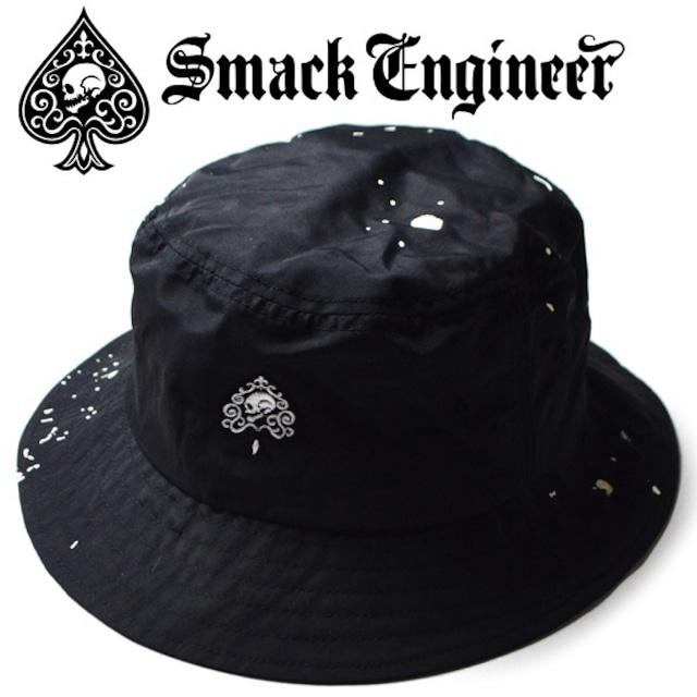 SMACK ENGINEER / スマックエンジニア「SPLASH BUCKET HAT」バケットハット ポークパイハット 帽子 撥水 スプラッシュ加工 黒 ブラック 刺繍 スペード スカル ドクロ メンズ レディース ROCK PUNK ロック パンク バンド ギフトラッピング無料 ステージ衣装 Rogia