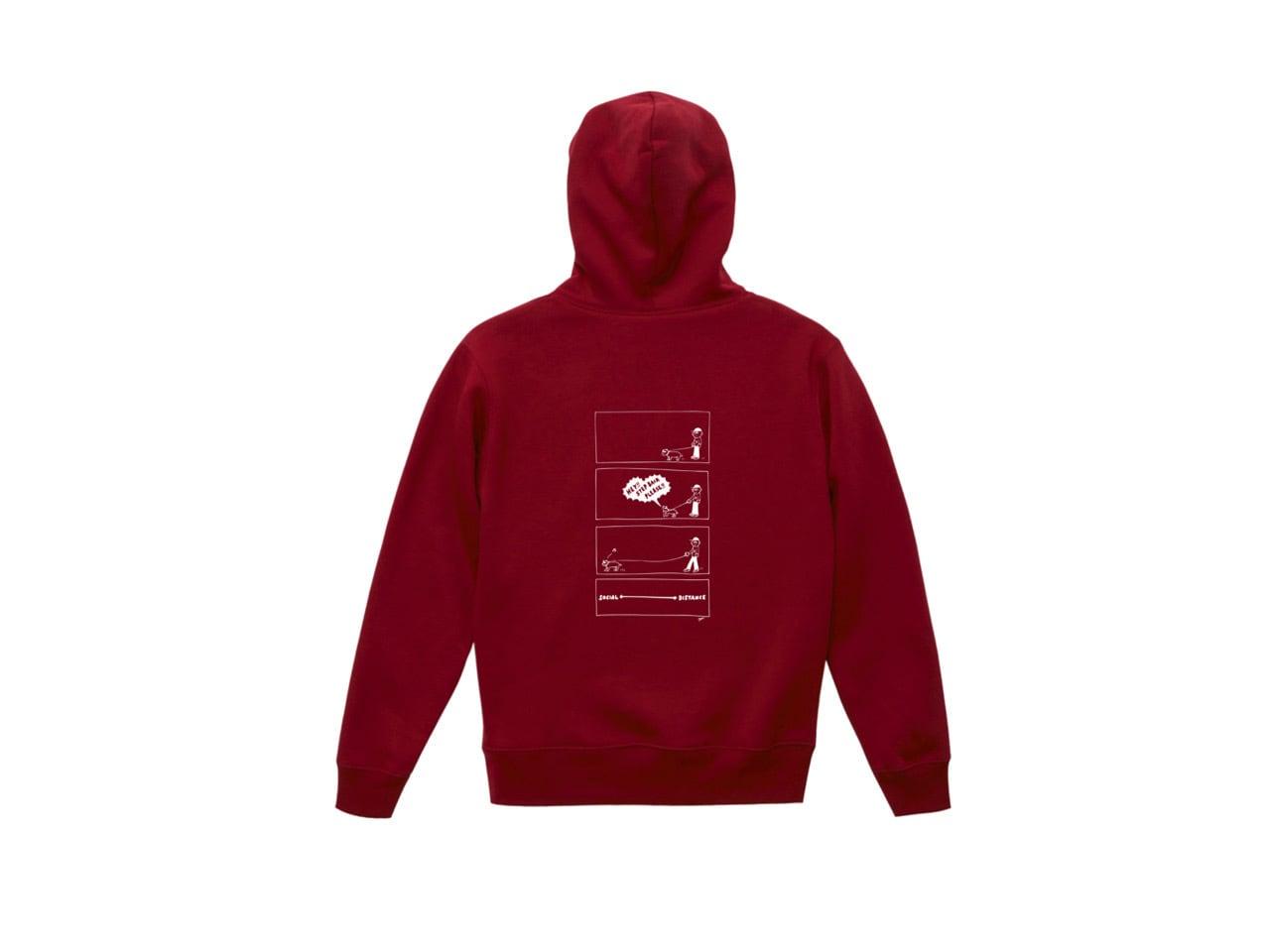 SHI × coguchi Dog SD hoodie (BUR/WH)