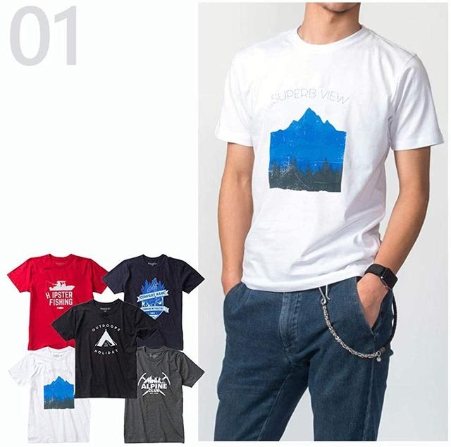 デイリー使いで毎日オシャレに「オーガニックプリント5枚組Tシャツ」 (01)