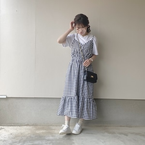 gingham check one-piece[4/19n-19]