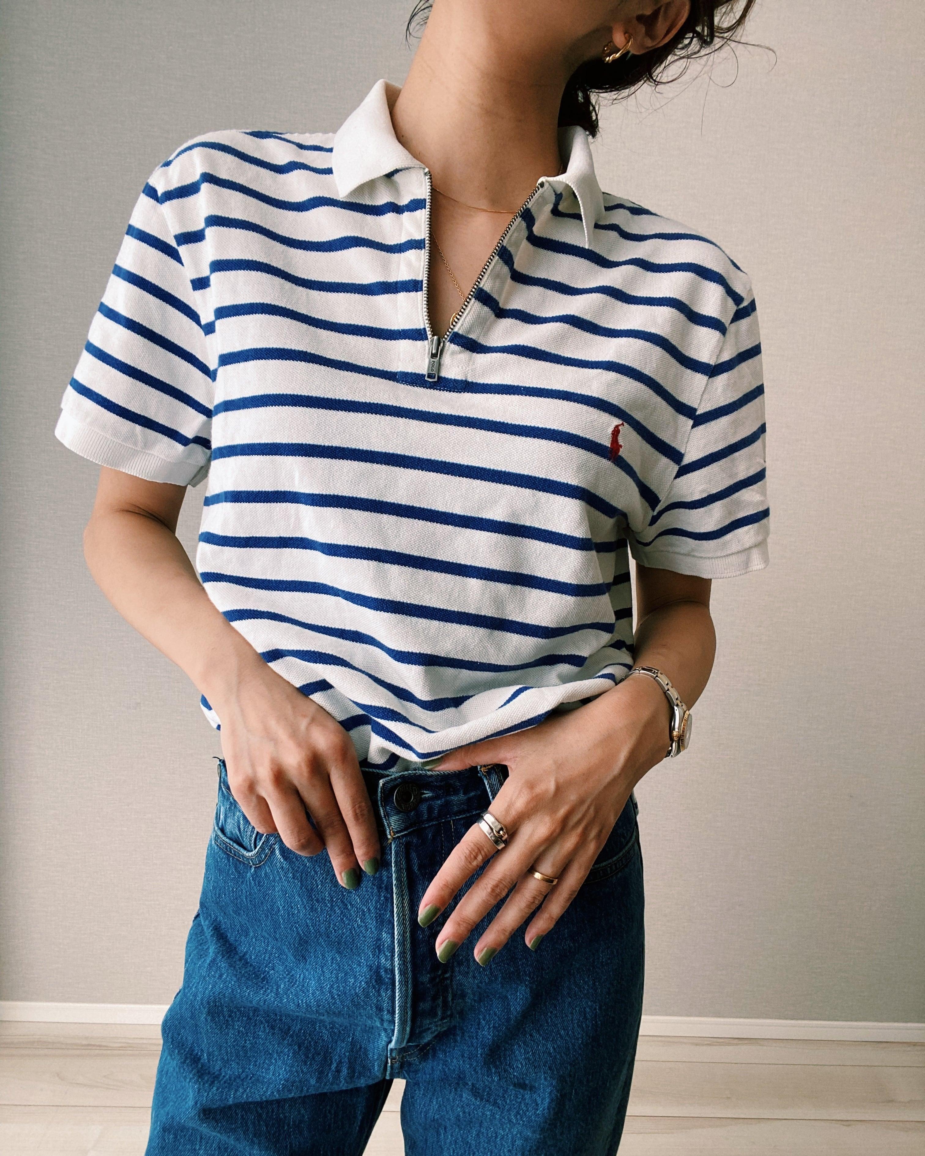 (SH251)Polo Ralph Lauren half zip border polo shirt