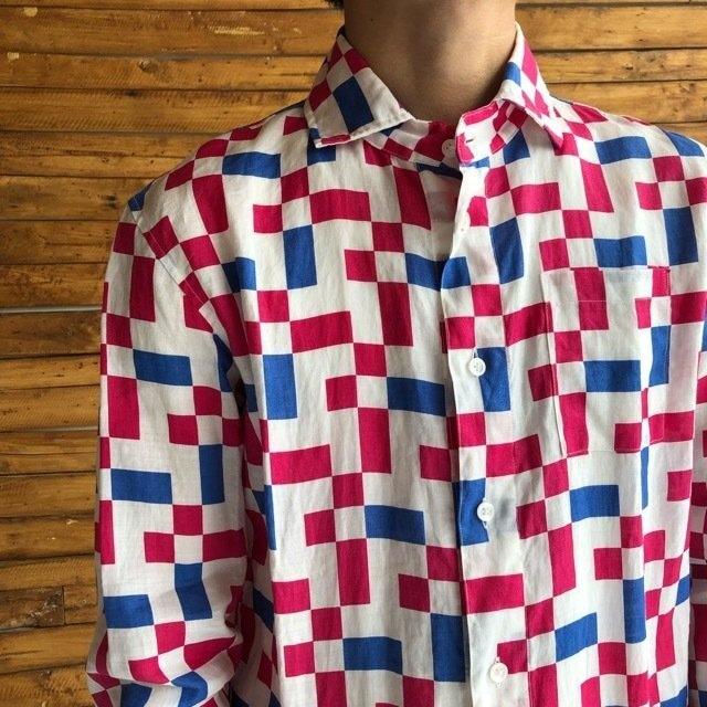 LOLO LIKE (ロロライク) ランダム市松リネンシャツ