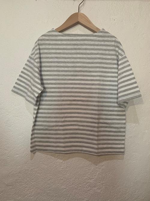 Chloro sister/toujours/ボーダーボートネックボーダーTシャツ オフxグレー