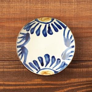 4寸皿一枚焼き/呉須の菊唐草