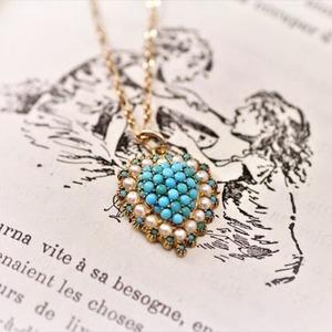 Turquoise & Pearl Heart Pendant  ターコイス & パール ハート ペンダント