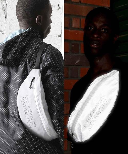 LB-185-10087【knock through abstraction/ノックスルーアブストラクション】reflection fabric body bag/反射素材ボディバッグ